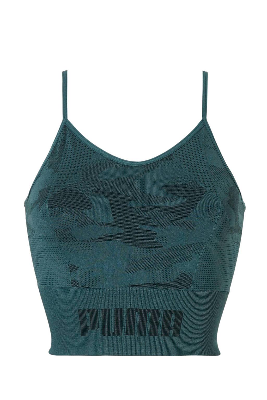 Puma cropped sporttop donkergroen, Donkergroen