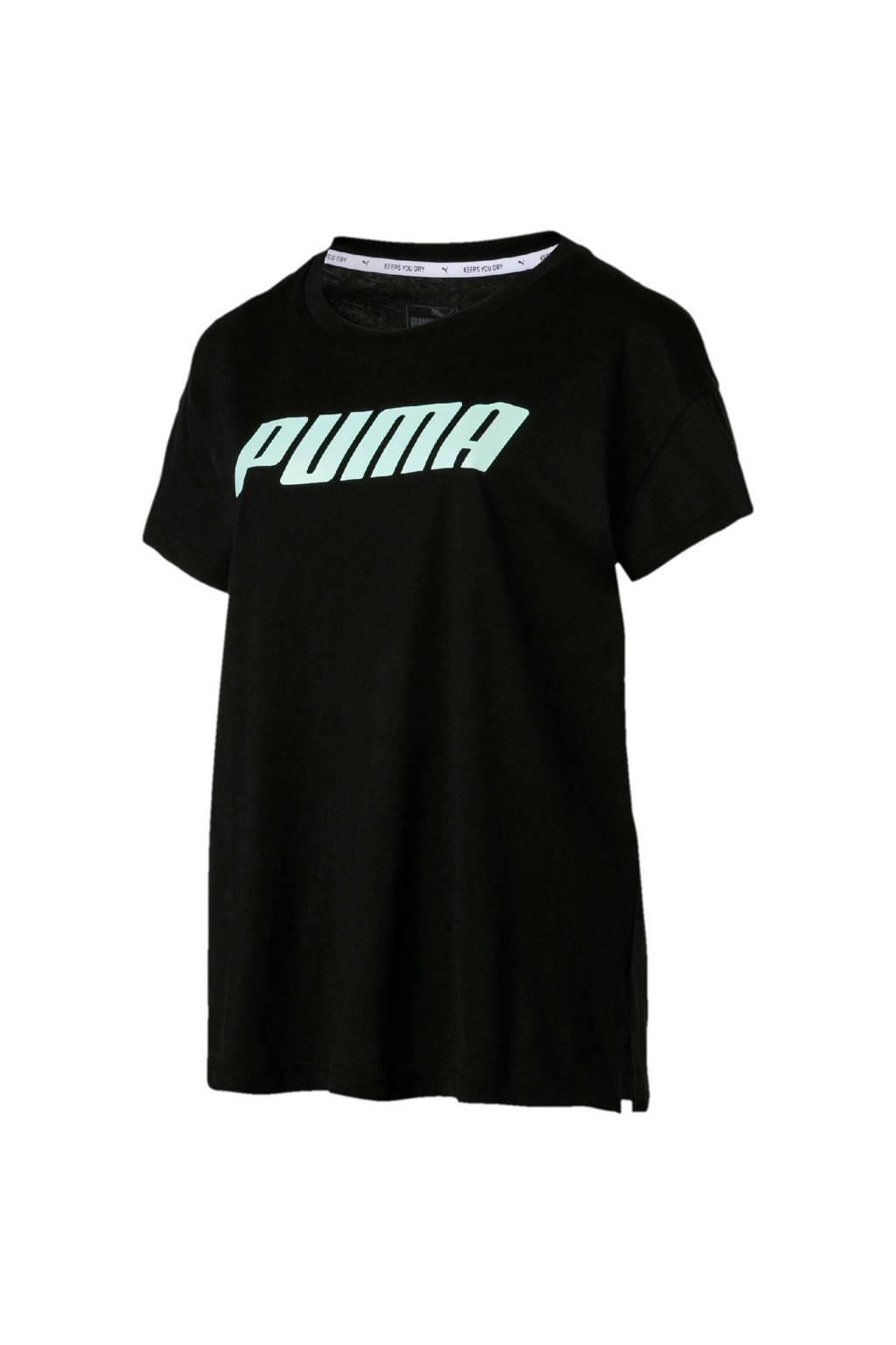 Puma sport T-shirt zwart, Zwart/lichtgroen