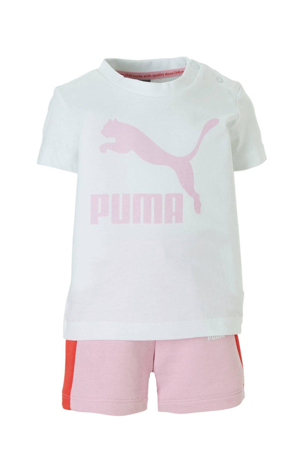 Puma baby T-shirt + short, Wit/roze/rood