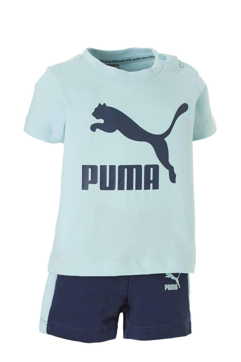 Puma baby T-shirt + short, Lichtblauw/donkerblauw