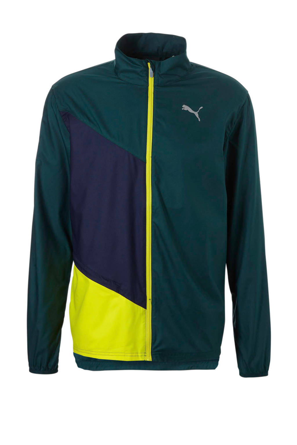 Puma hardloopjack groen, Groen/blauw/geel
