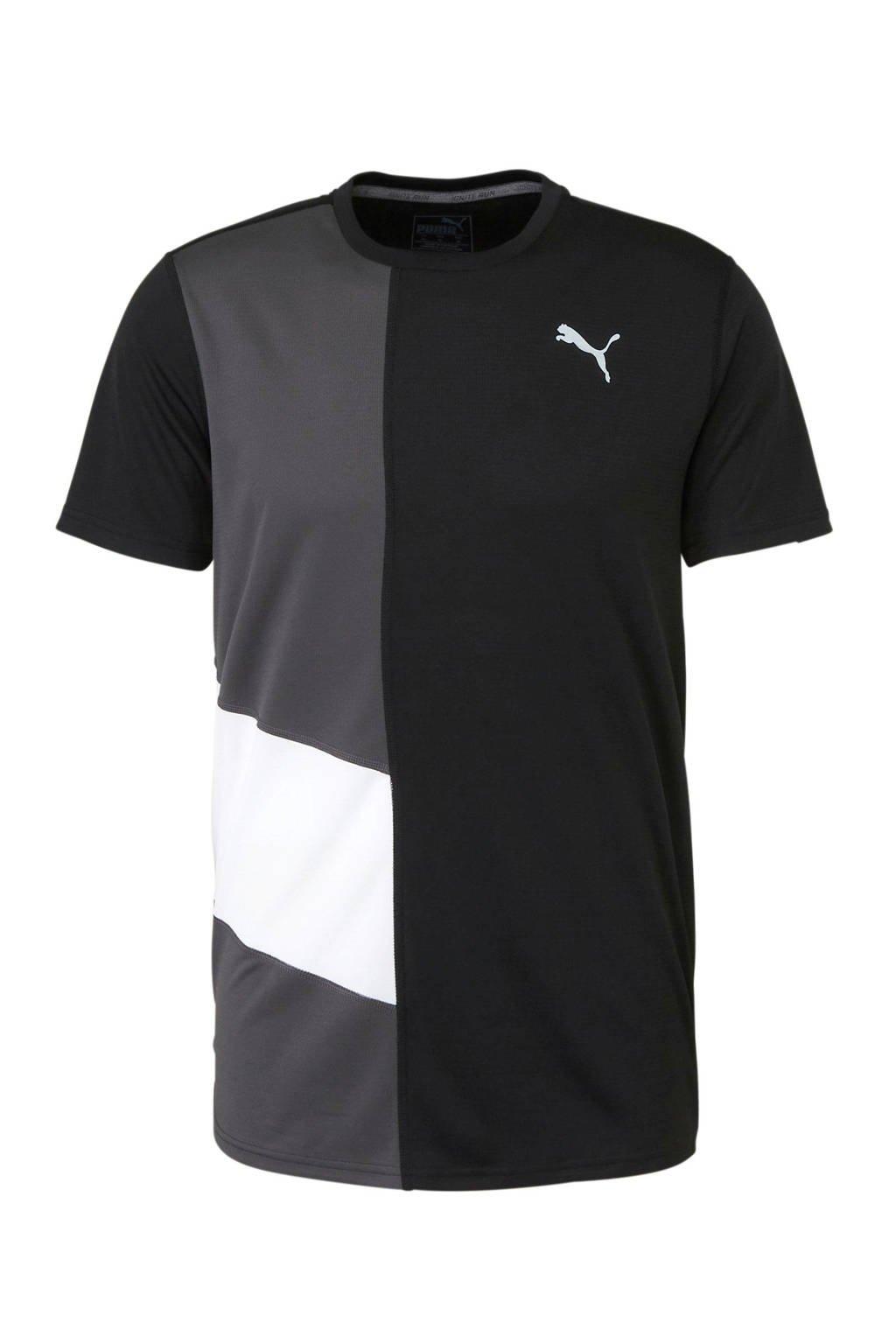 Puma   sport T-shirt zwart, Zwart/grijs