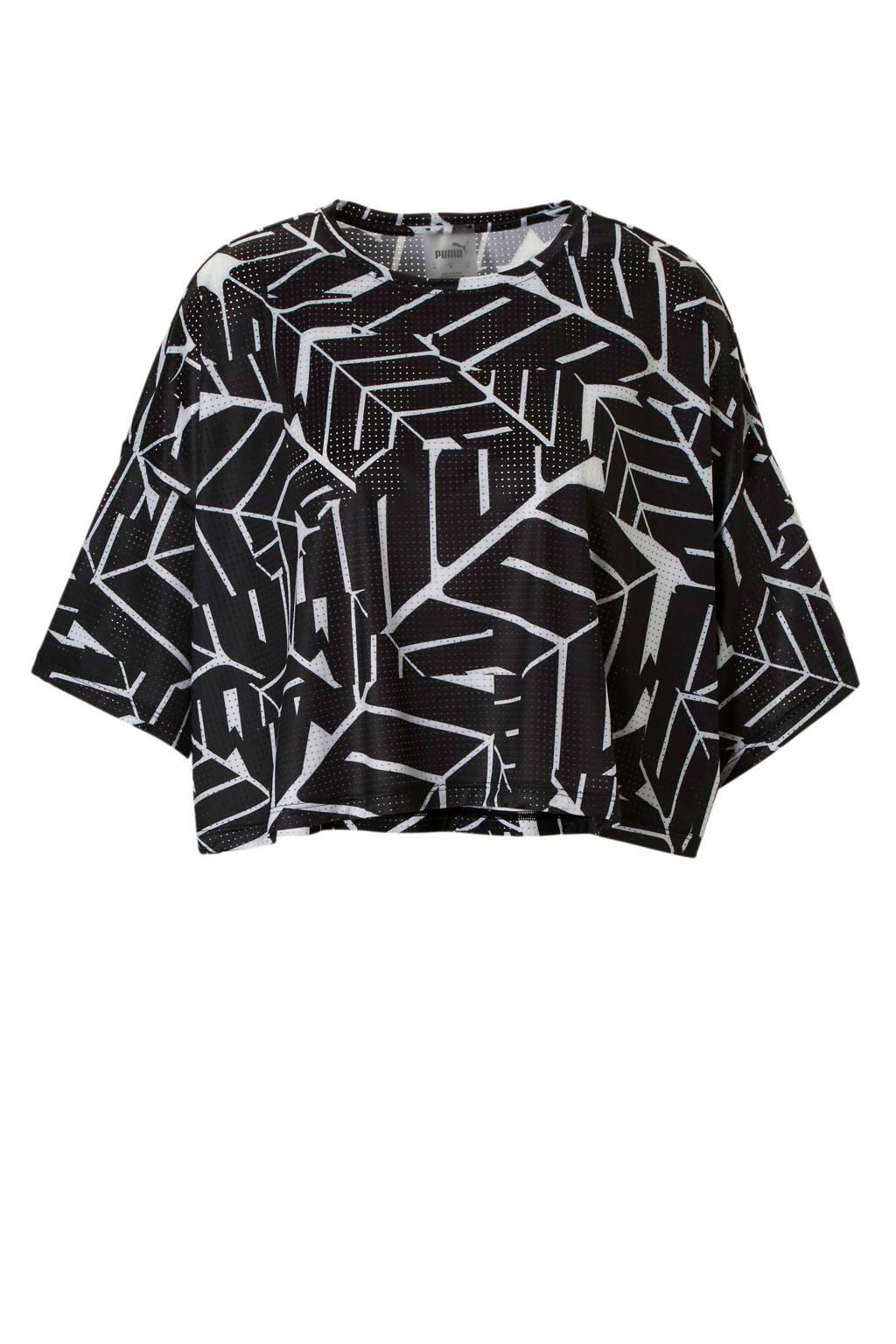 Puma sport T-shirt zwart/wit, Zwart/wit