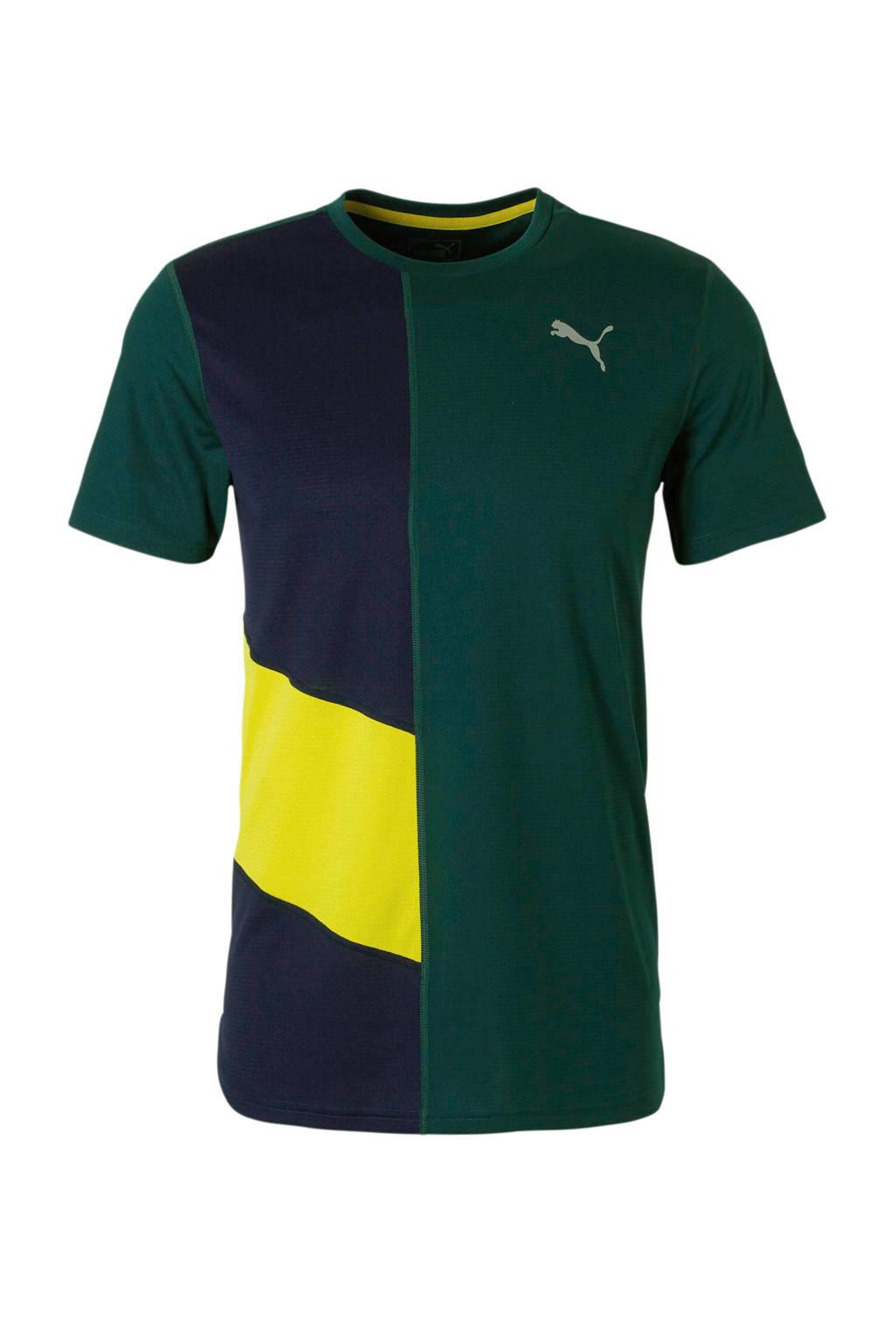 Puma   hardloop T-shirt donkergroen, Donkergroen/geel/donkerblauw