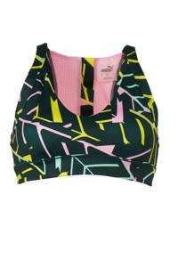 Puma / Puma sportbh met all over print zwart/lila/geel