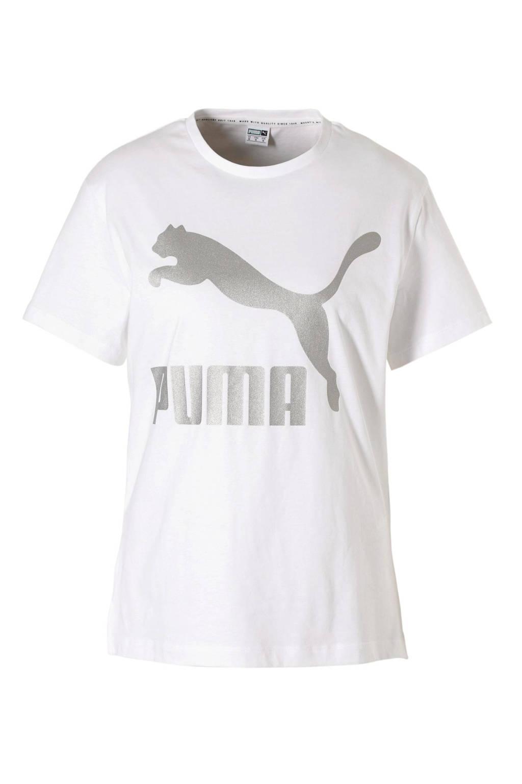 Puma T-shirt wit, Wit/zilver