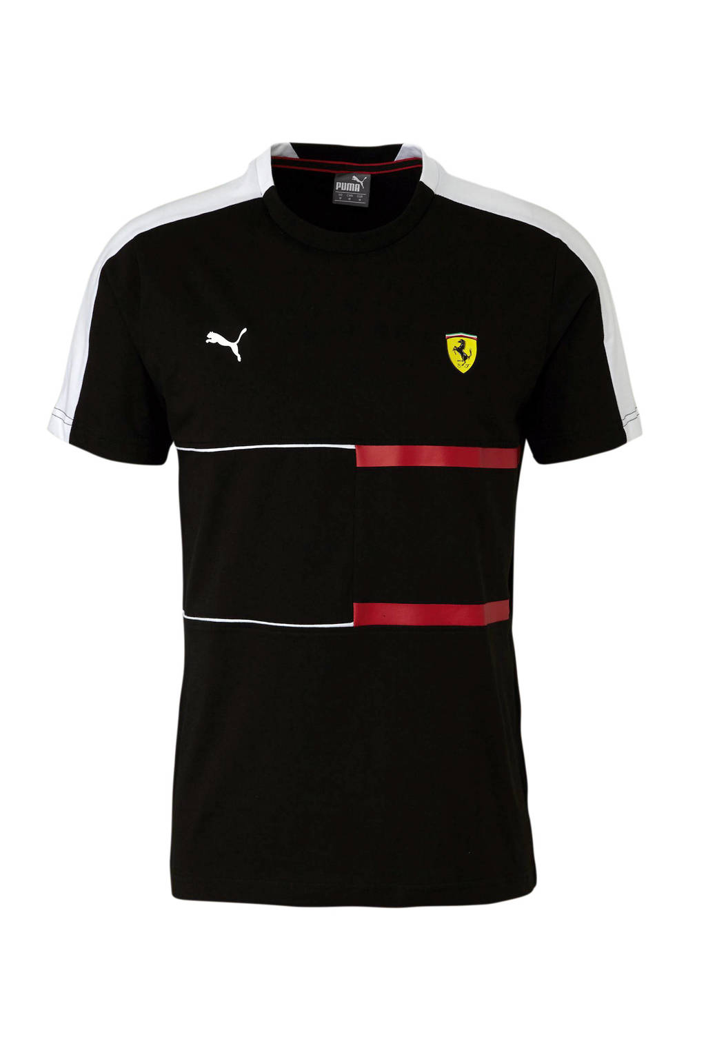 Puma   Ferrari T-shirt zwart, Zwart/rood/wit