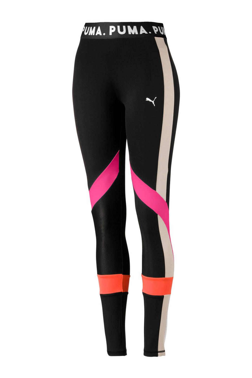 Puma legging zwart/roze/oranje, Zwart/roze/oranje