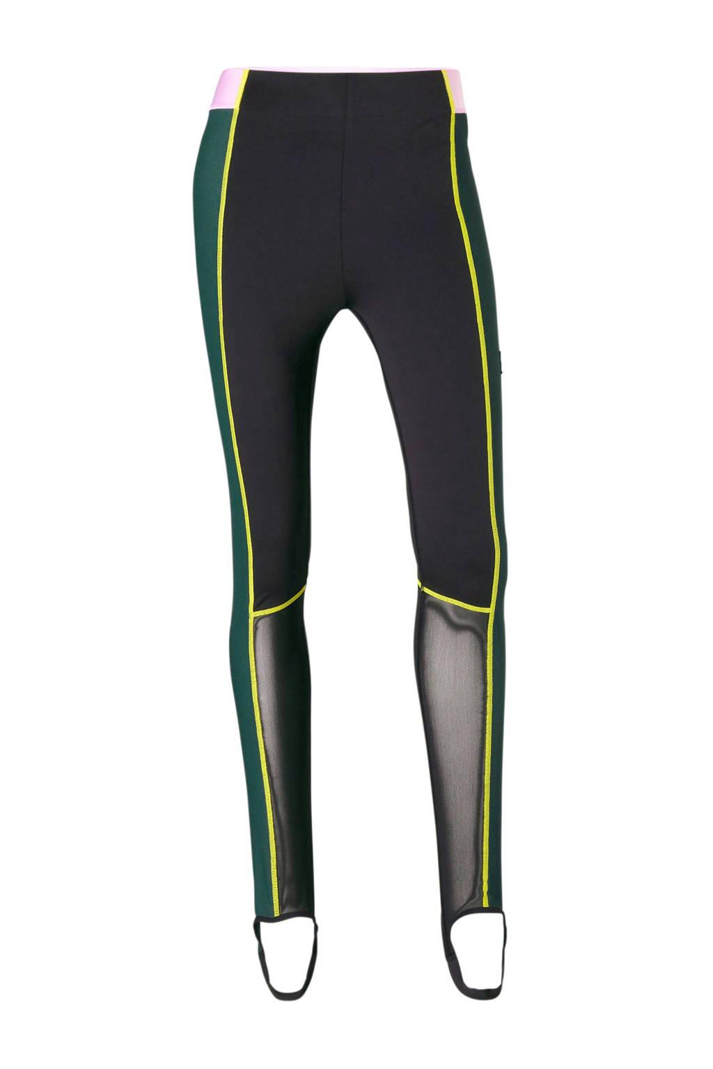 Puma 7/8 sportlegging zwart, Zwart/groen/roze