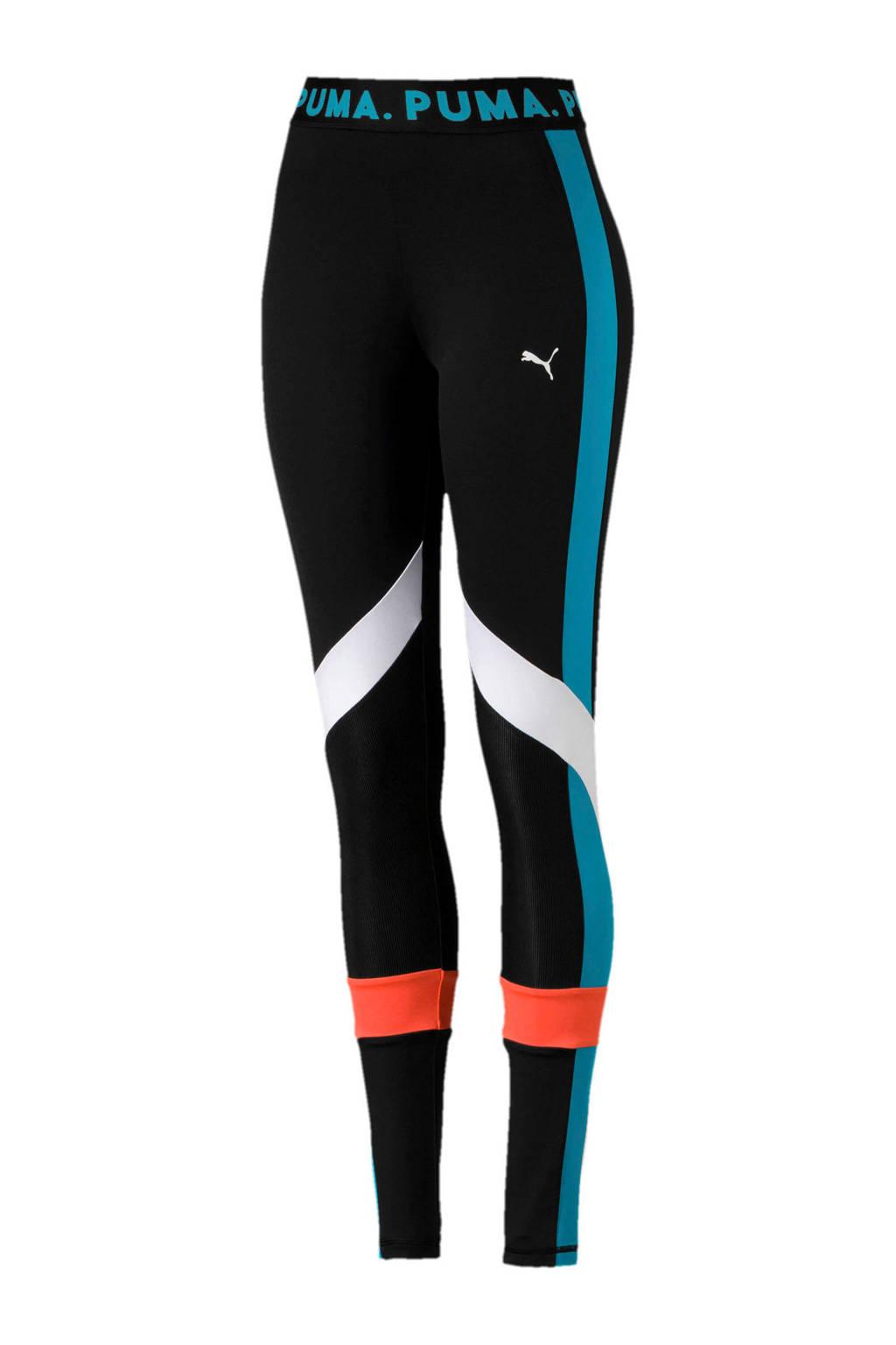 Puma legging zwart/blauw/wit/roze, Zwart/blauw/wit