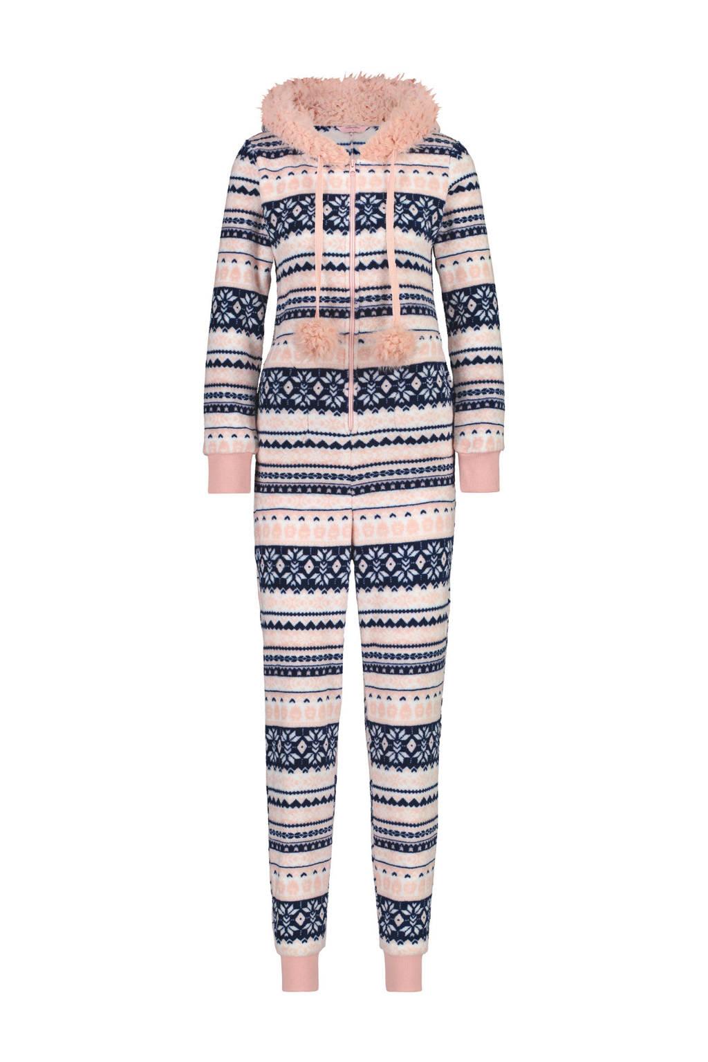 Hunkemöller fleece onesie in all over print blauw, Blauw/roze/wit