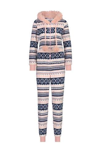 fleece onesie in all over print blauw