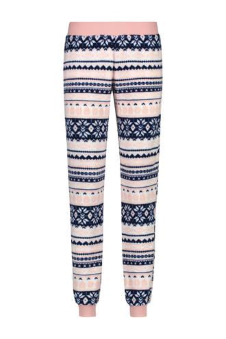 fleece pyjamabroek in all over print blauw