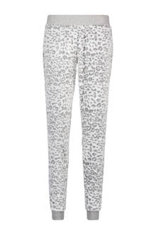 fleece pyjamabroek met panterprint wit