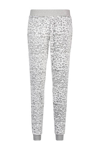 fleece pyjamabroek met panterprint wit