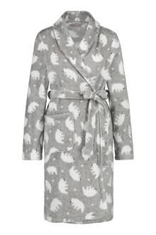 fleece badjas met ijsberen grijs
