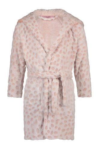 fleece badjas met reliëf roze