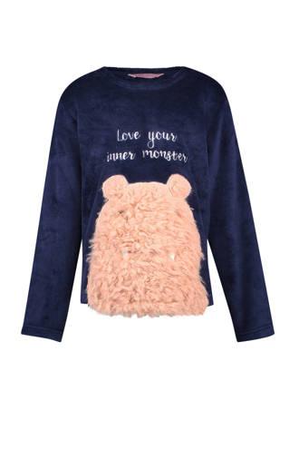 fleece sweater met opdruk blauw