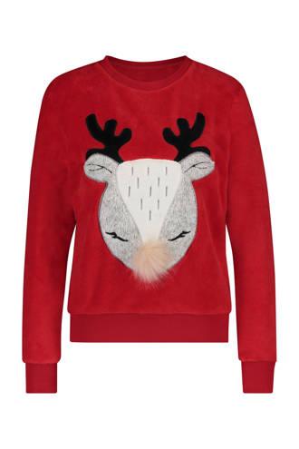 lounge fleece sweater met print rood