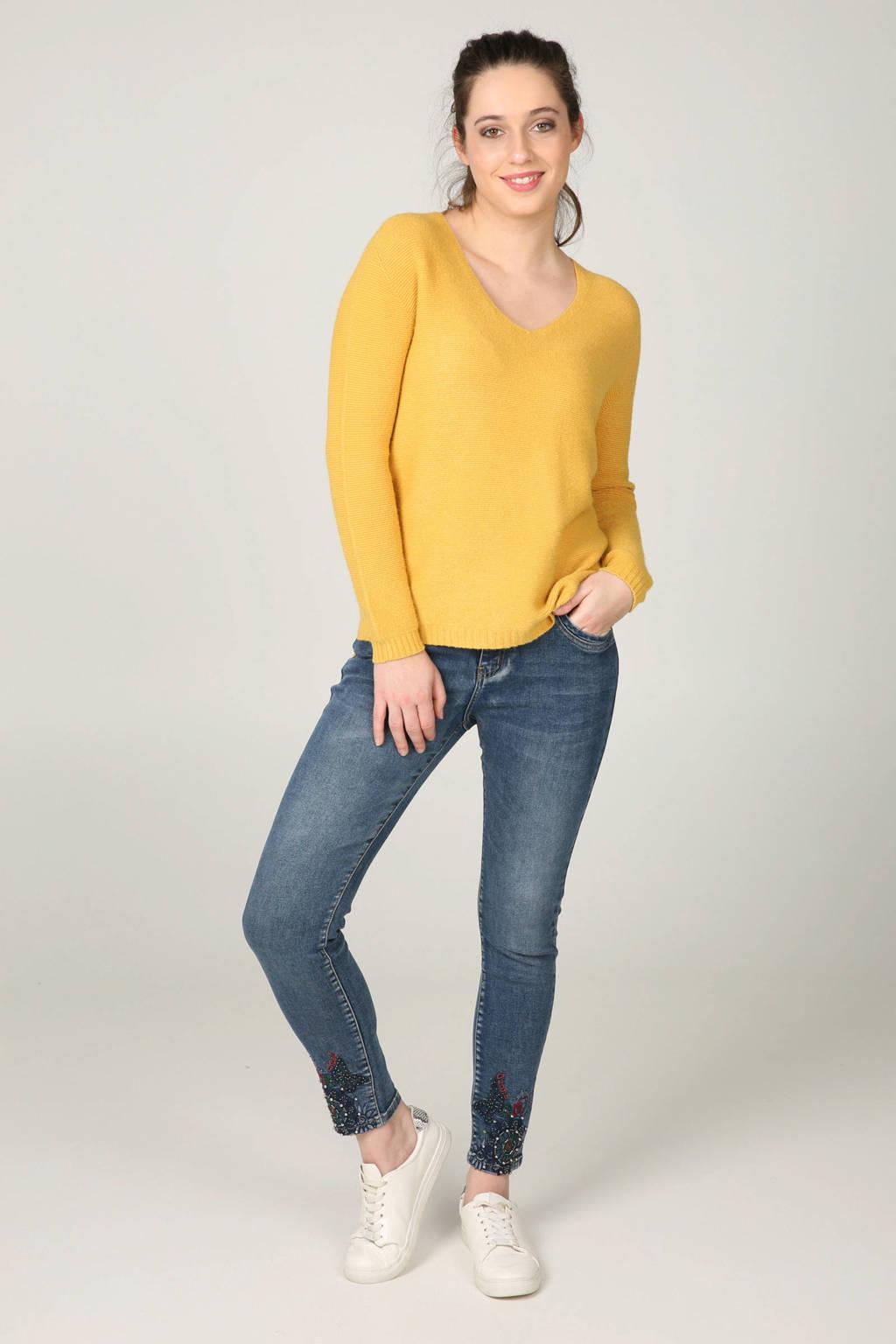 Cassis skinny jeans met kraaltjes en borduursels, Denim