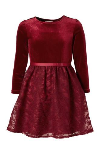 Here & There jurk met fluweel rood