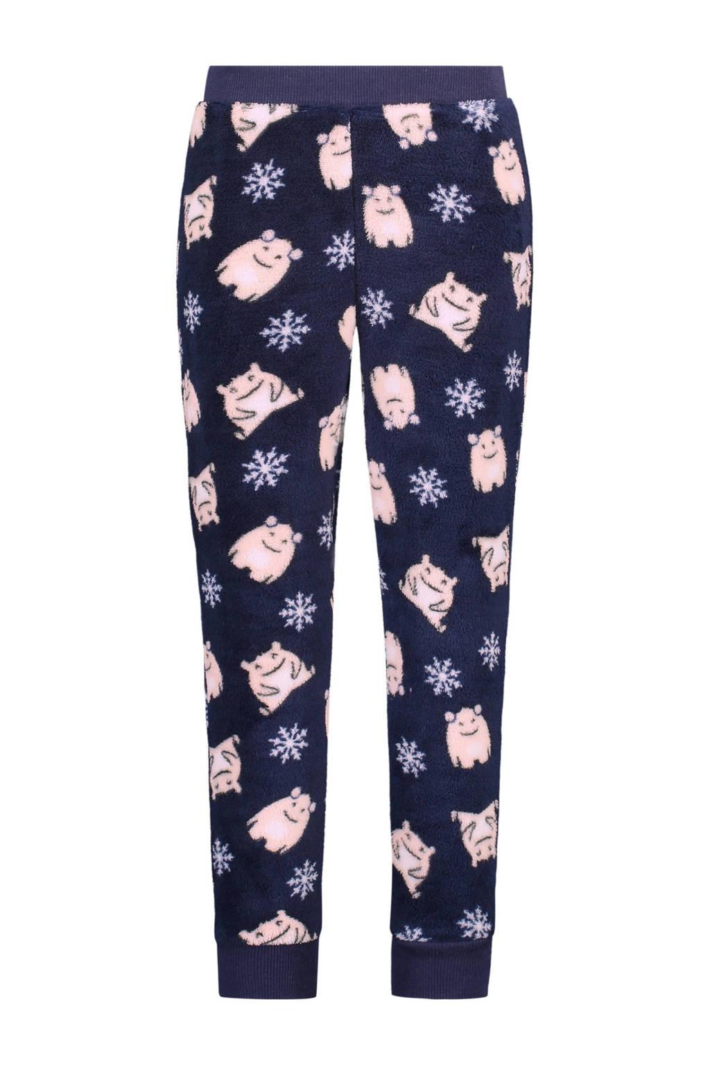 Hunkemöller fleece pyjamabroek all over print blauw, Blauwe/roze
