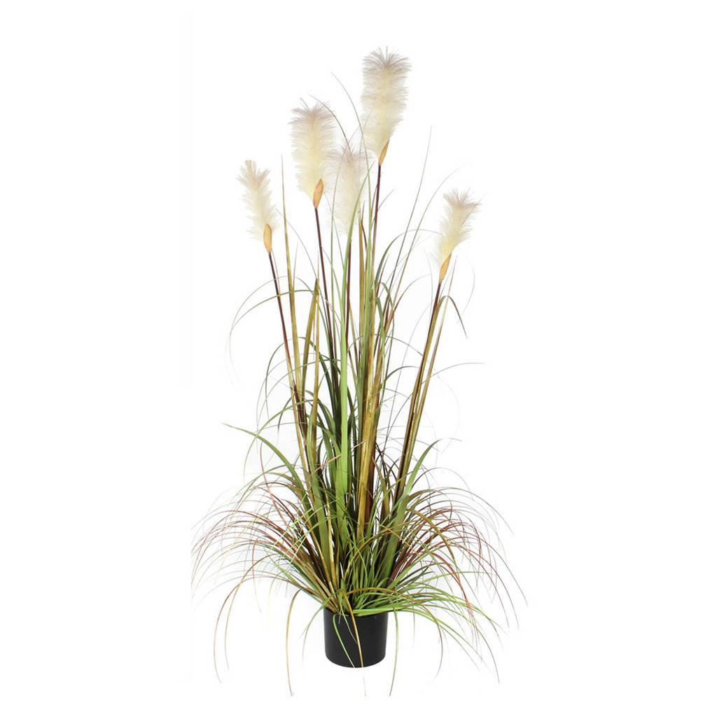 Mica kunstplant pluimgras (h150 cm), Groen/ecru