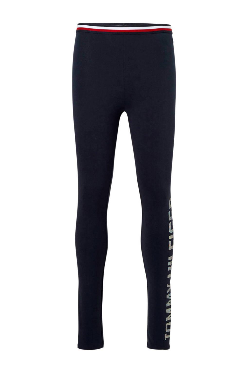 Tommy Hilfiger legging met metallic logo blauw, Donkerblauw/zilver