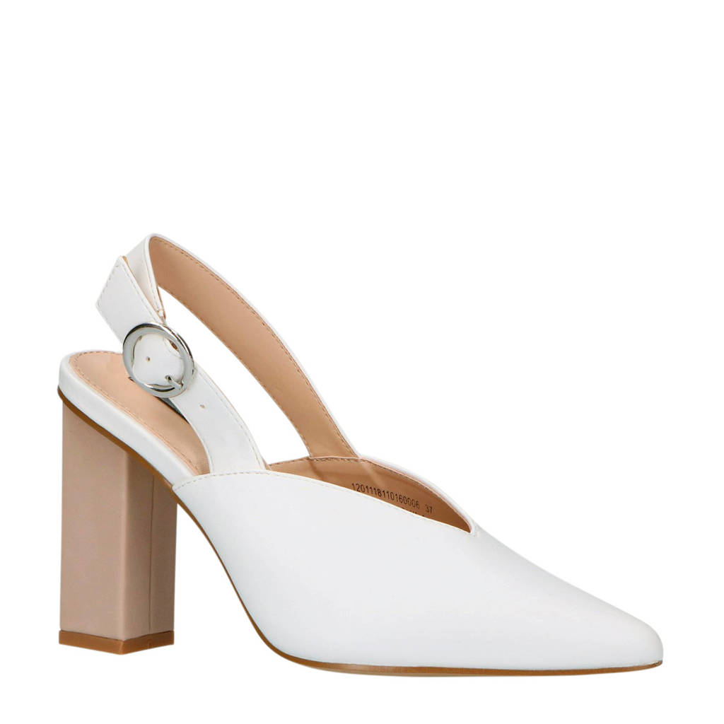 Lost Ink slingback pump wit/taupe, Wit/taupe