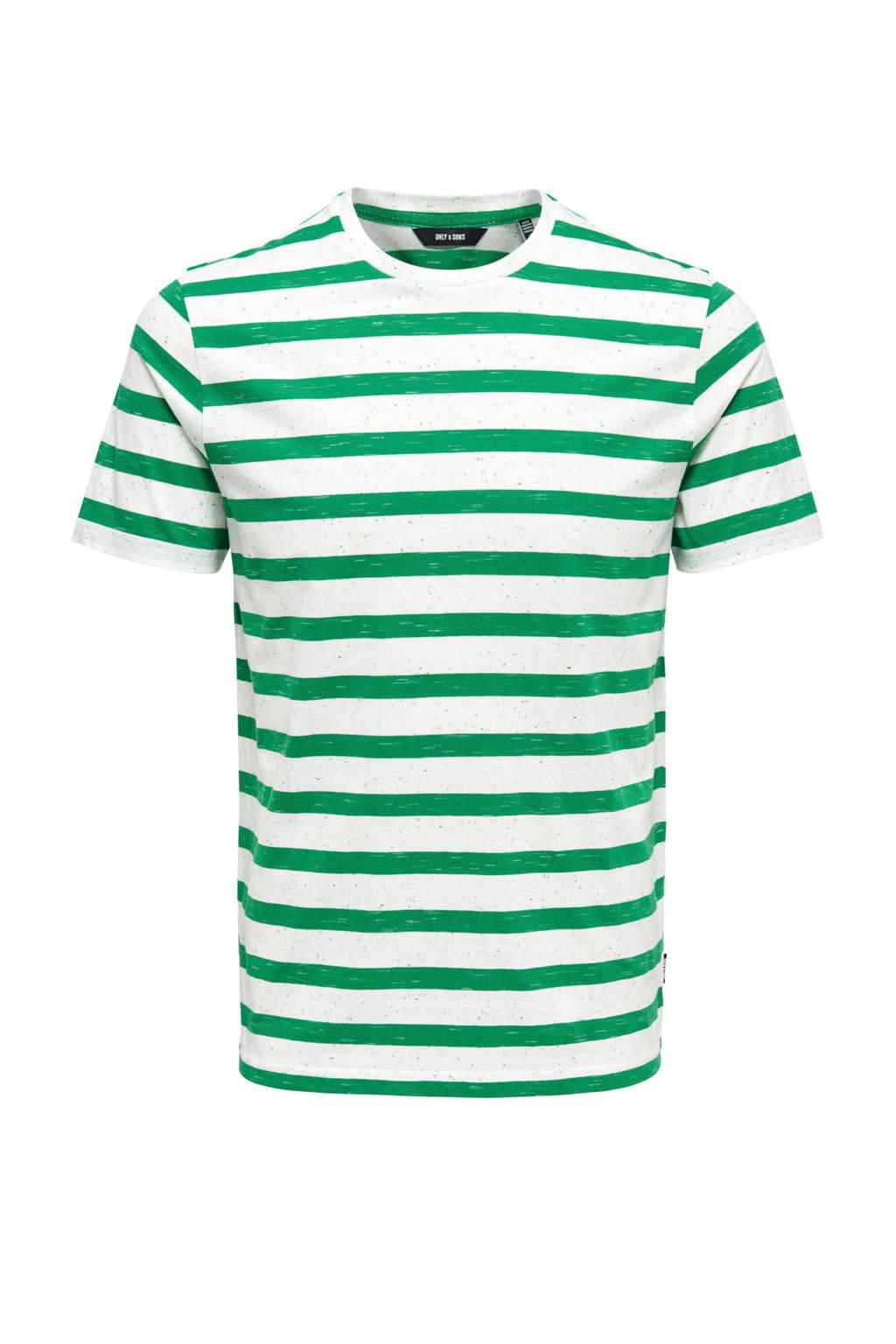 Only & Sons T-shirt met streep, Wit/groen