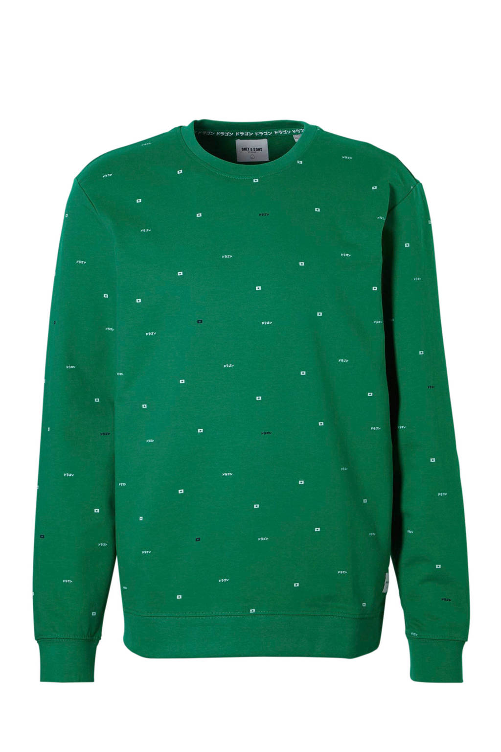 Only & Sons sweater met print, Blauw