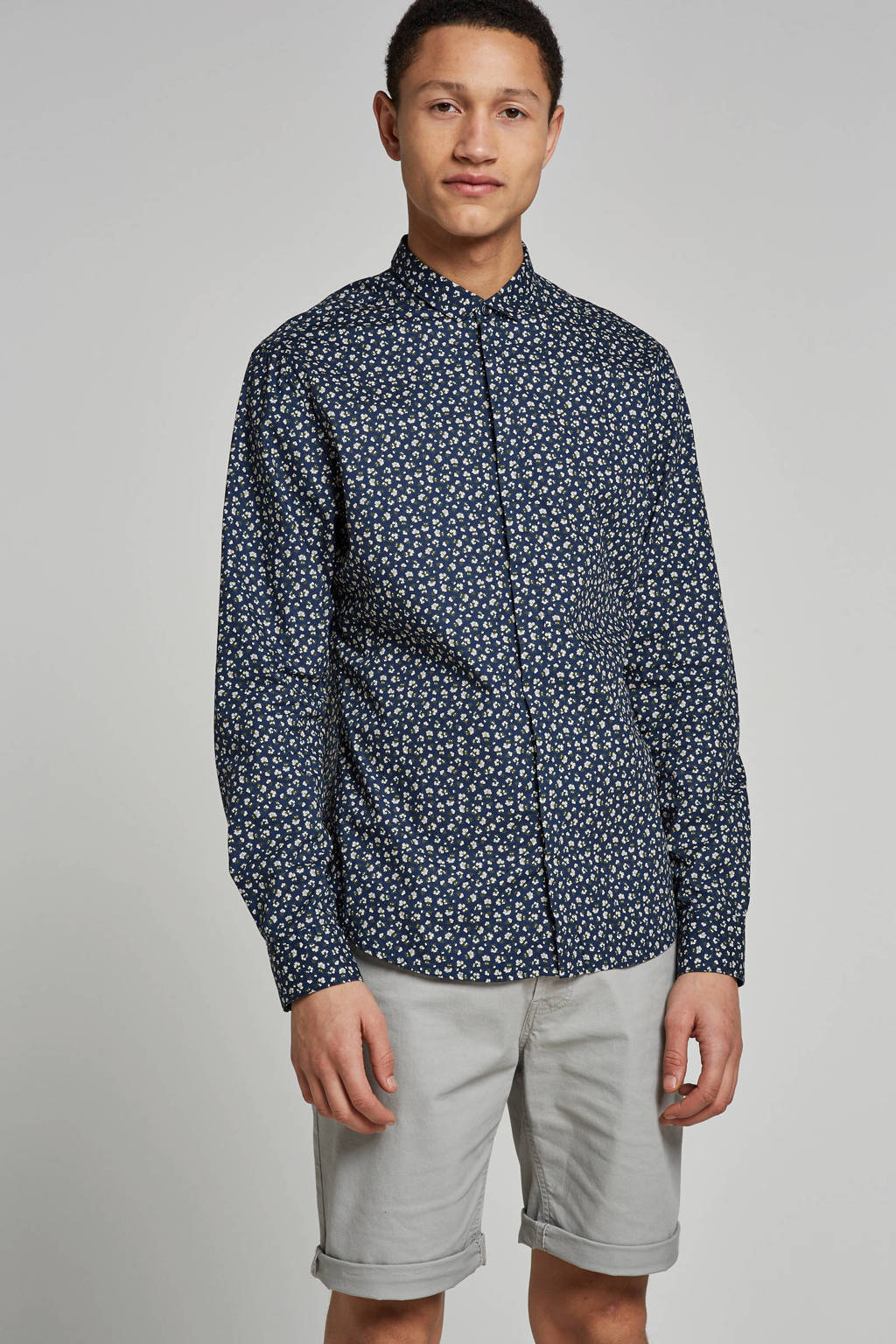 Only & Sons slim fit overhemd Todd, Donkerblauw