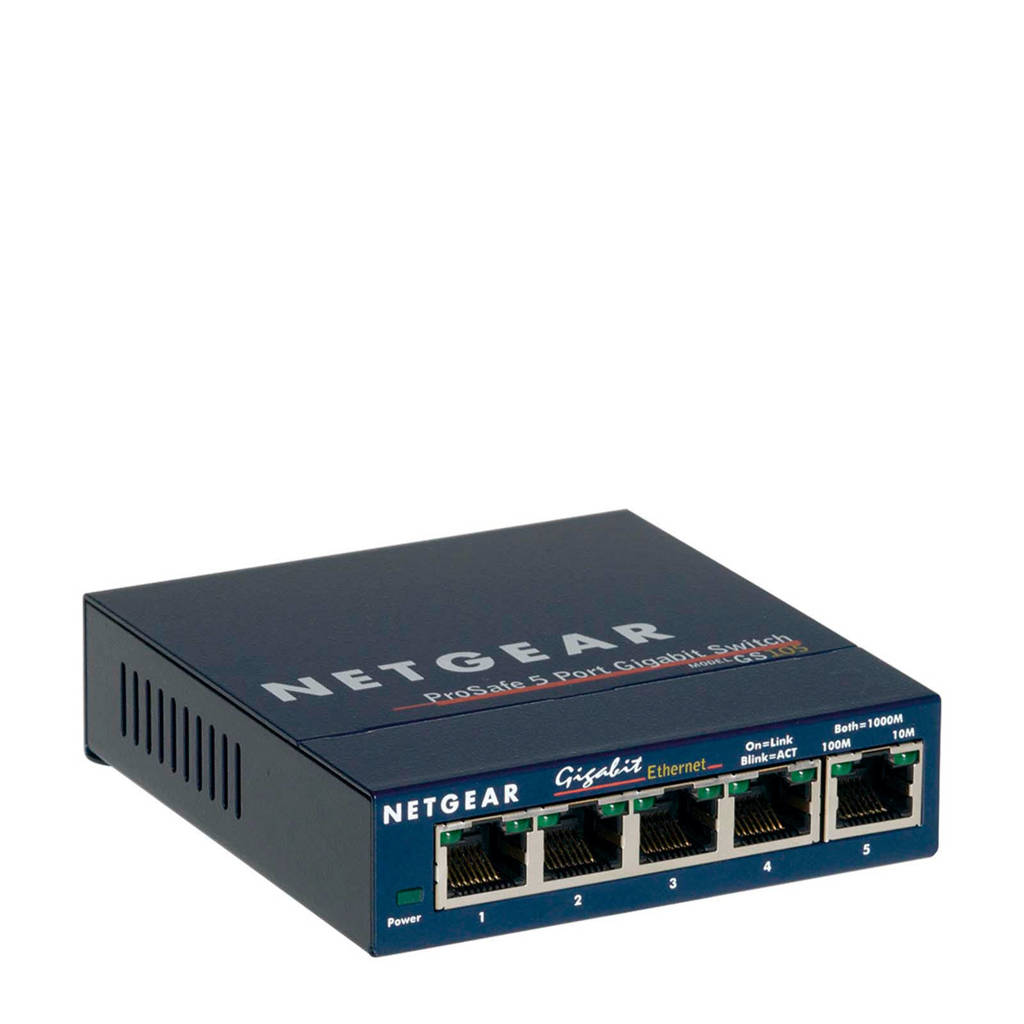 Netgear GS105GE 5-poorts gigabit switch, Blauw