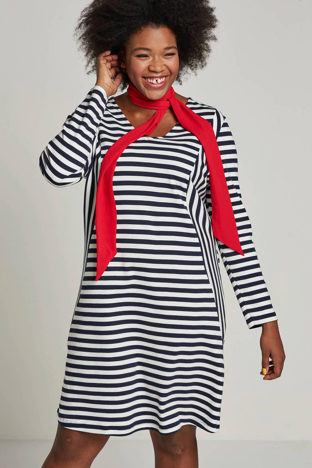 JUNAROSE jurk met strepen, Donkerblauw/wit