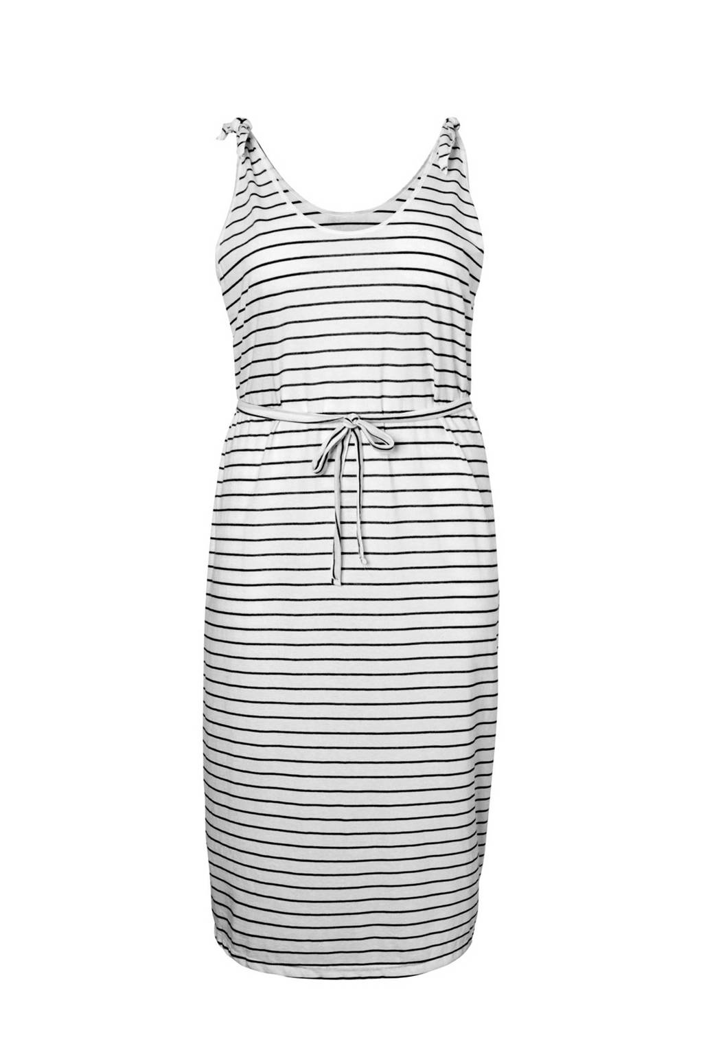 JUNAROSE gestreepte jurk, Wit/zwart