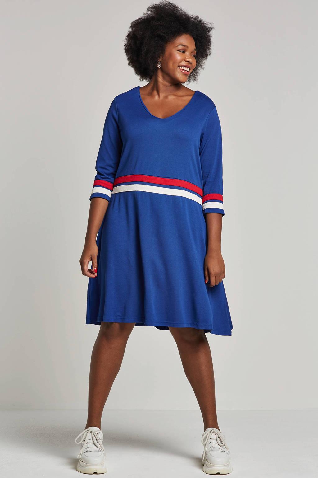 JUNAROSE gebreide jurk, Blauw/wit/rood