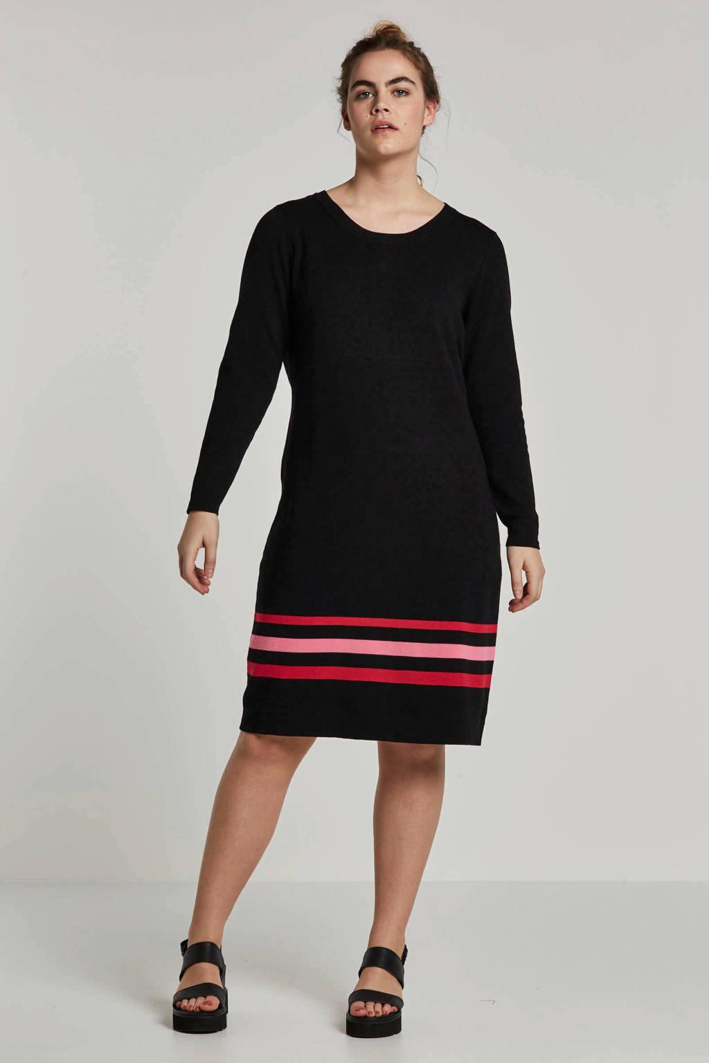 JUNAROSE jurk met strepen, Zwart/roze/rood