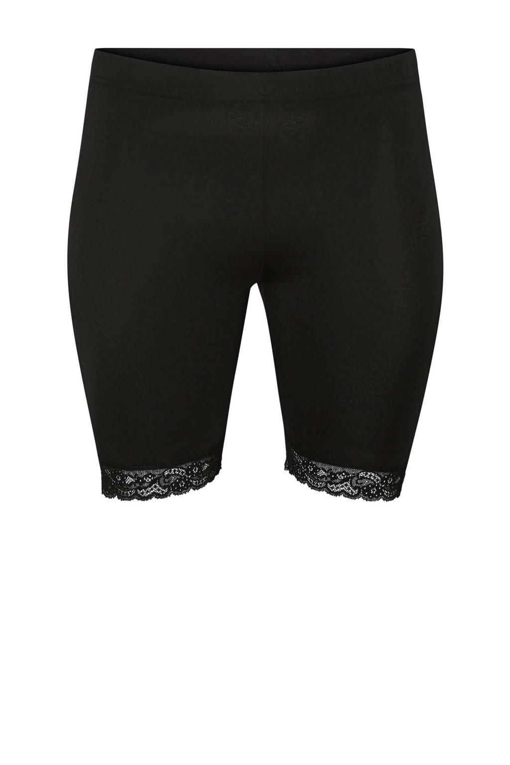 JUNAROSE korte legging met kanten details, Zwart