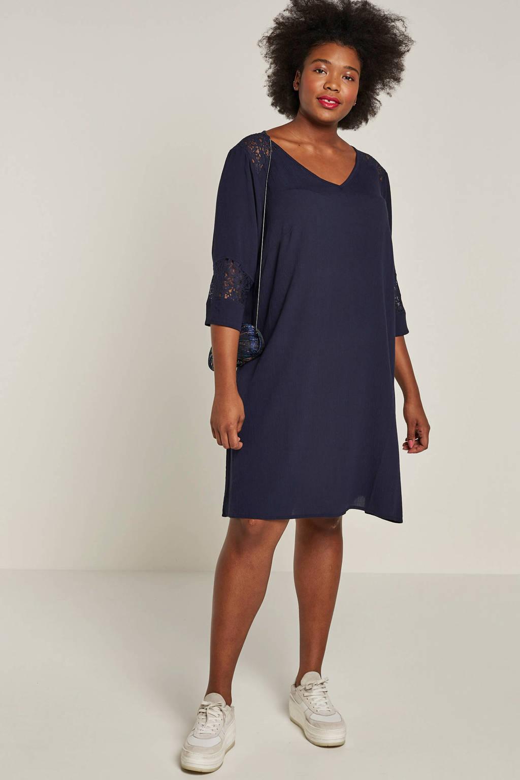 JUNAROSE jurk met kanten details, Donkerblauw