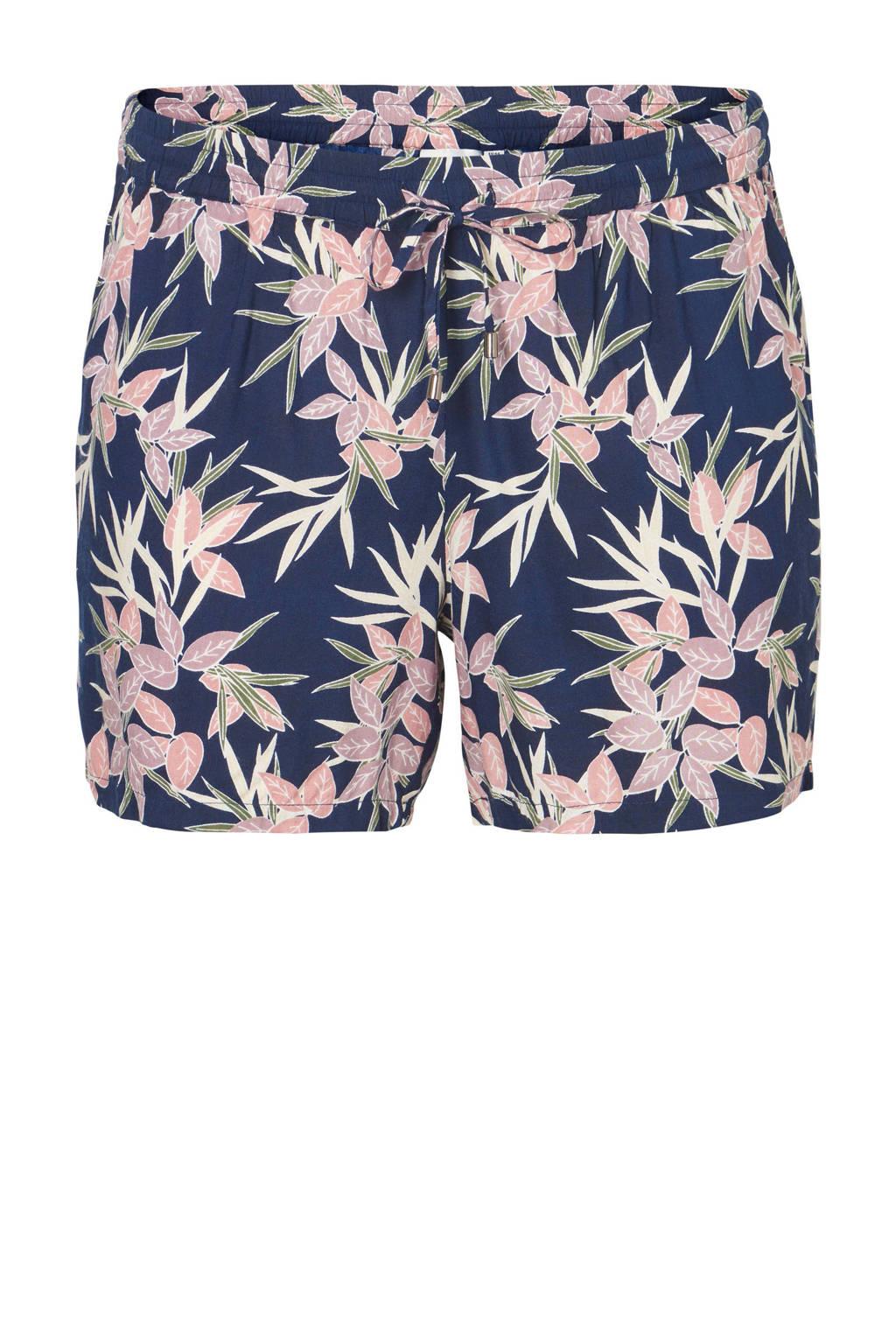 JUNAROSE short met bloemen, Donkerblauw/ roze/ paars/ geel