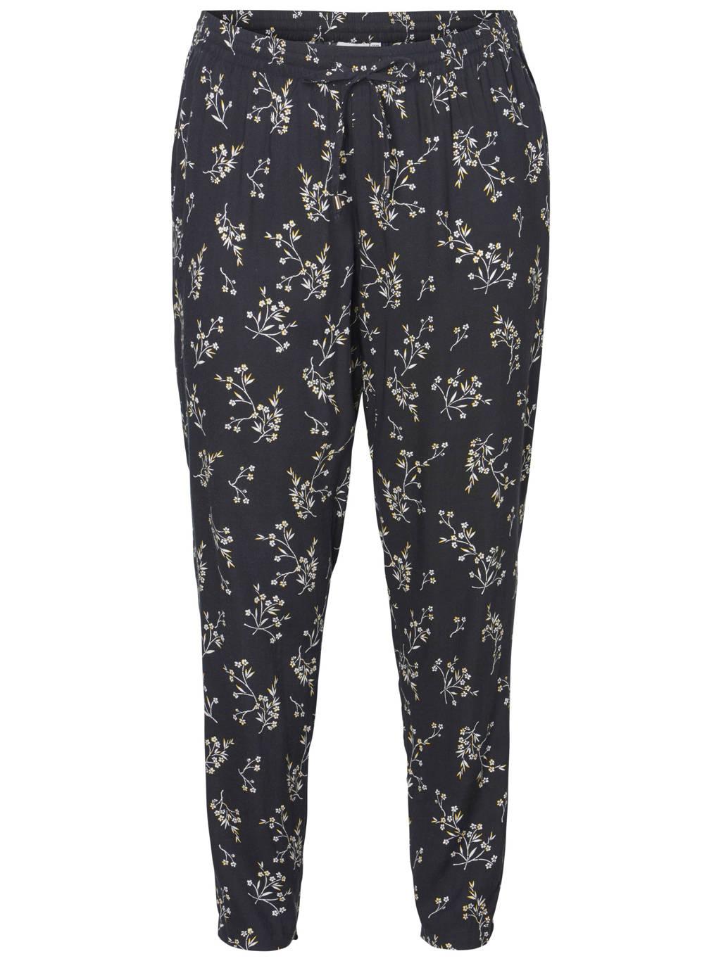 JUNAROSE broek met all-over print, Zwart/wit