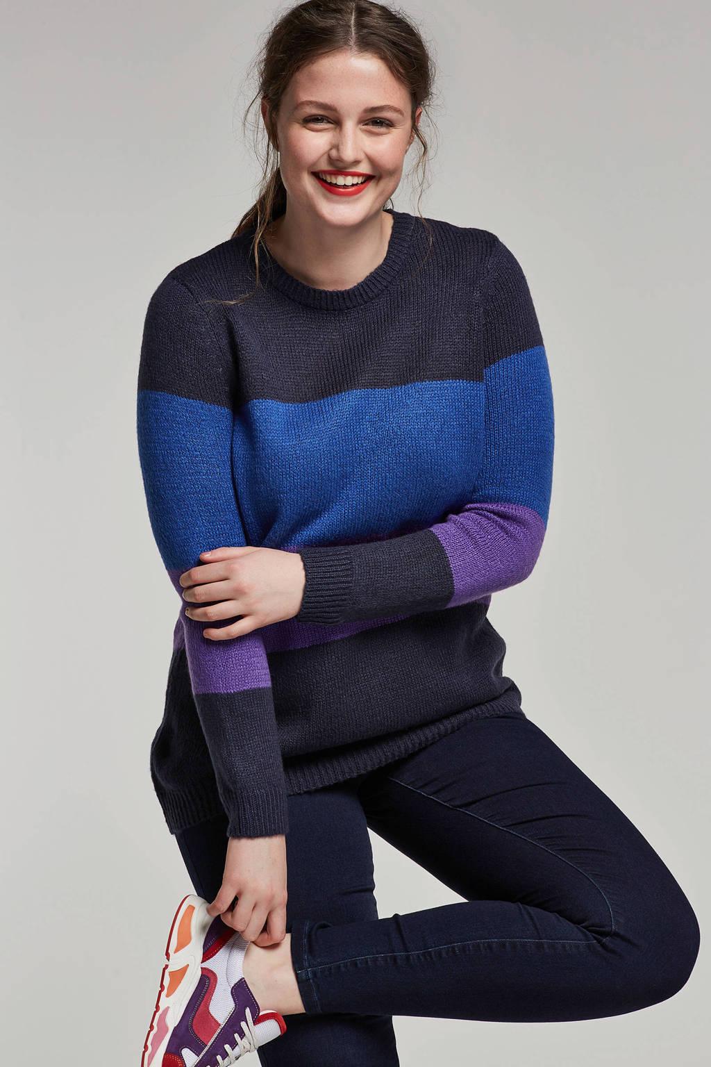 JUNAROSE gebreide trui, Donkerblauw/paars