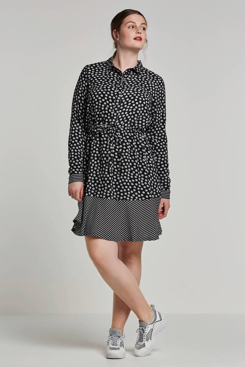 JUNAROSE blousejurk, Zwart/wit