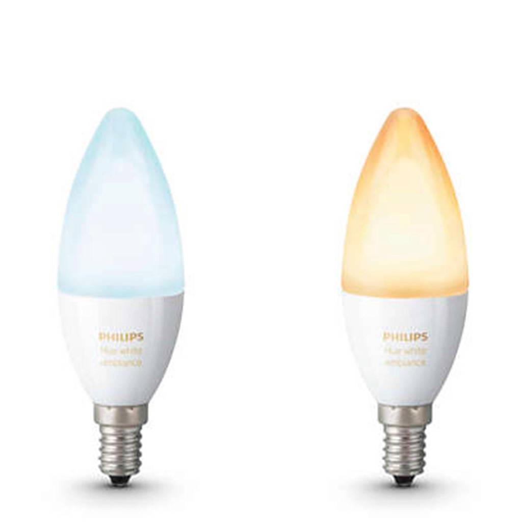 Philips Hue Ambiance LED kaarslamp Duopack E14, -