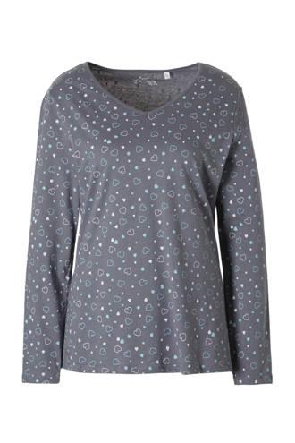 pyjama top met hartjes grijs