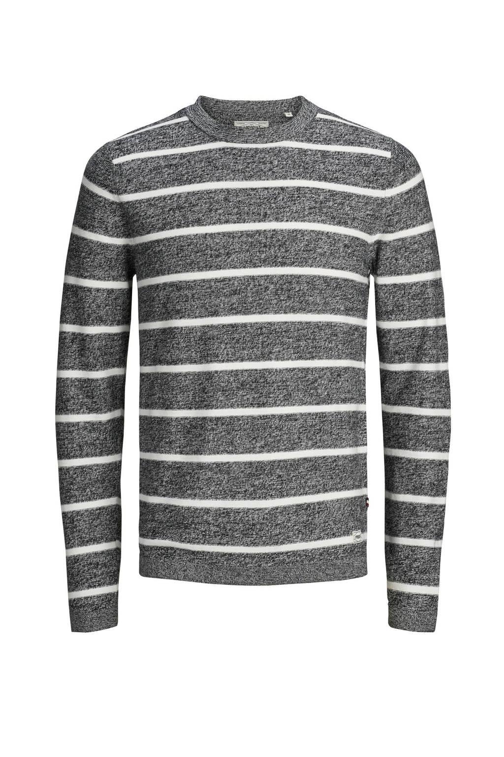 PRODUKT pullover met streep, Zwart/wit