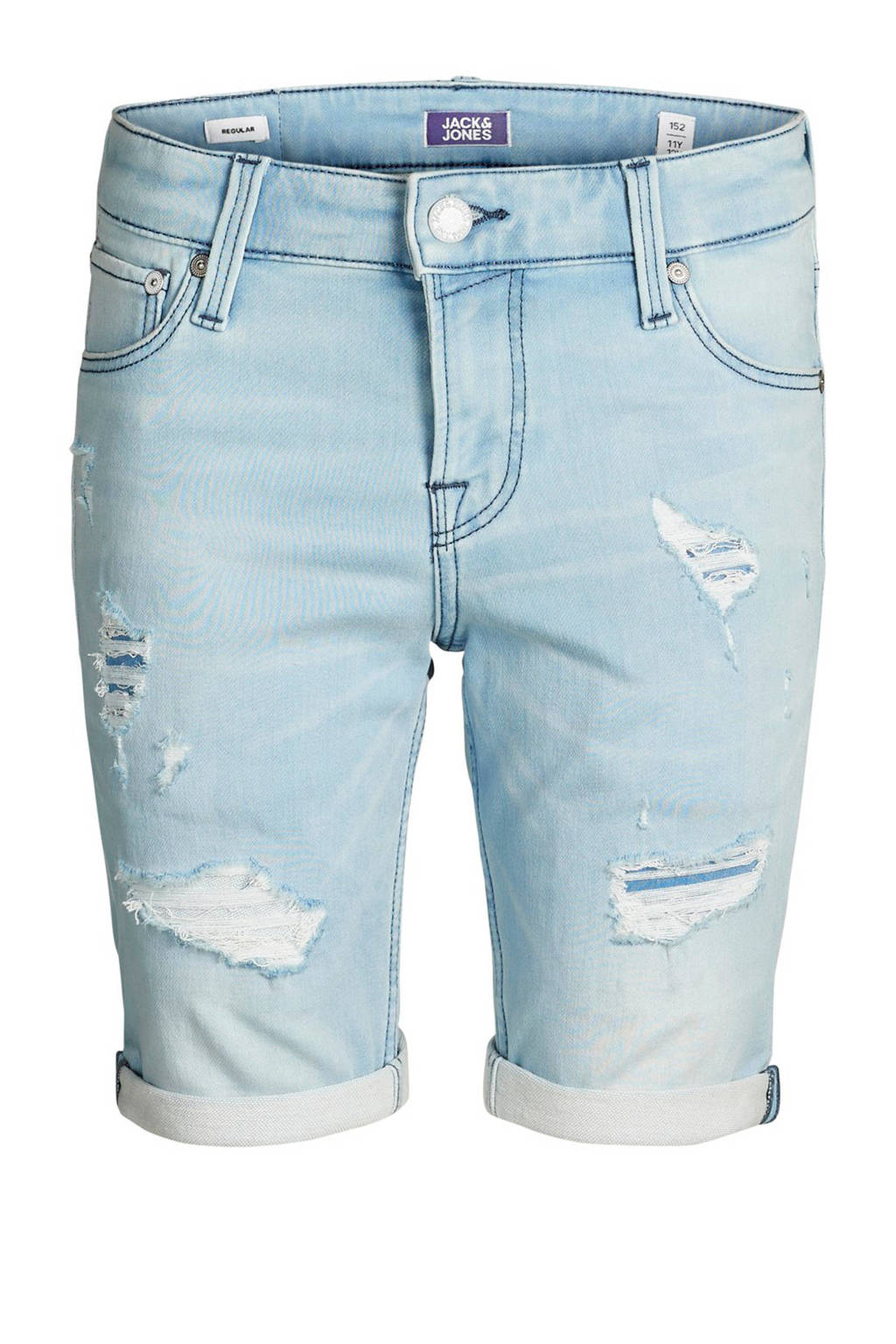 Jack & Jones Junior jeans bermuda Jjicon met slijtage, Light denim