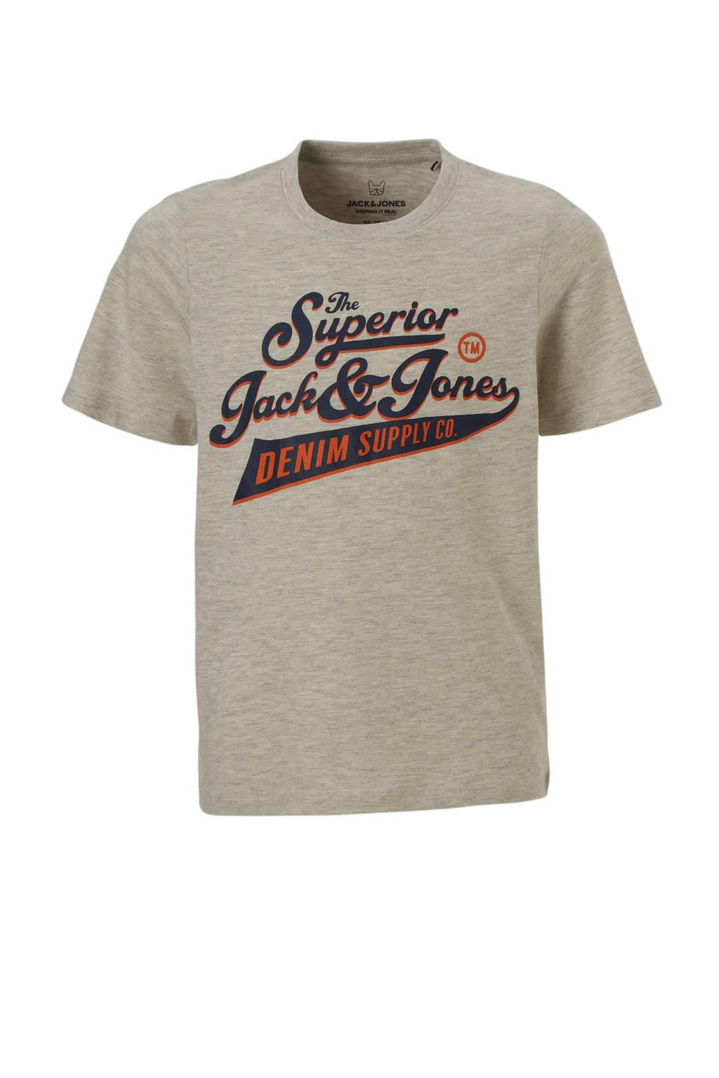 Jack & Jones Junior T-shirt met tekst grijs, Lichtgrijs melange