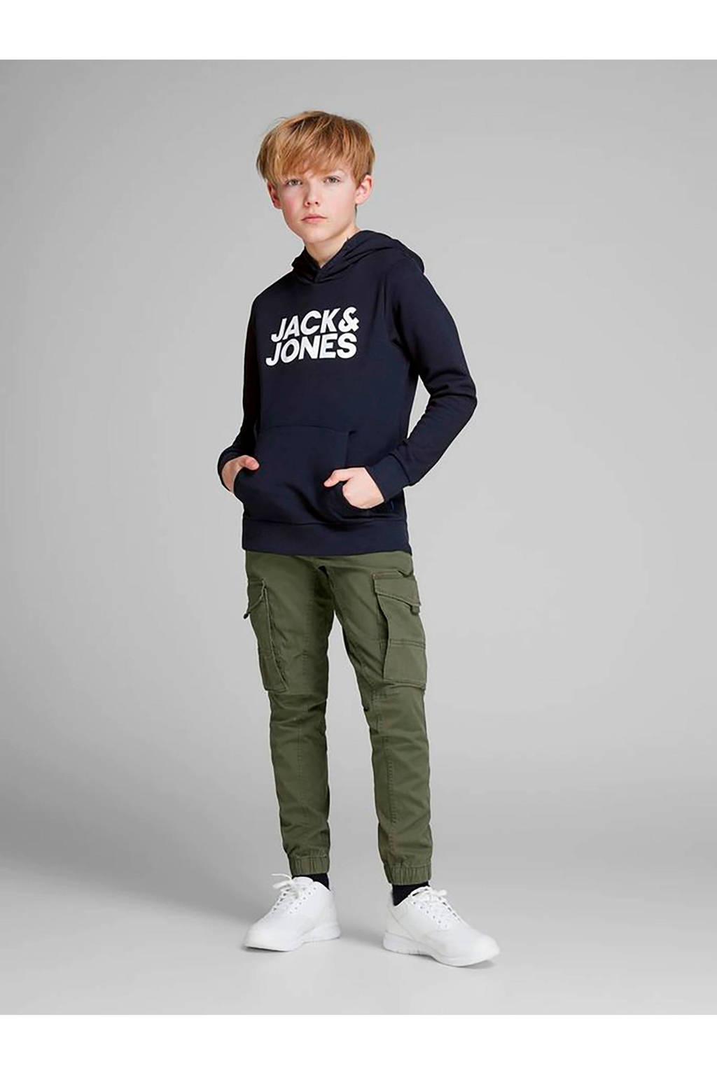 Jack & Jones Junior hoodie met logo blauw, Donkerblauw