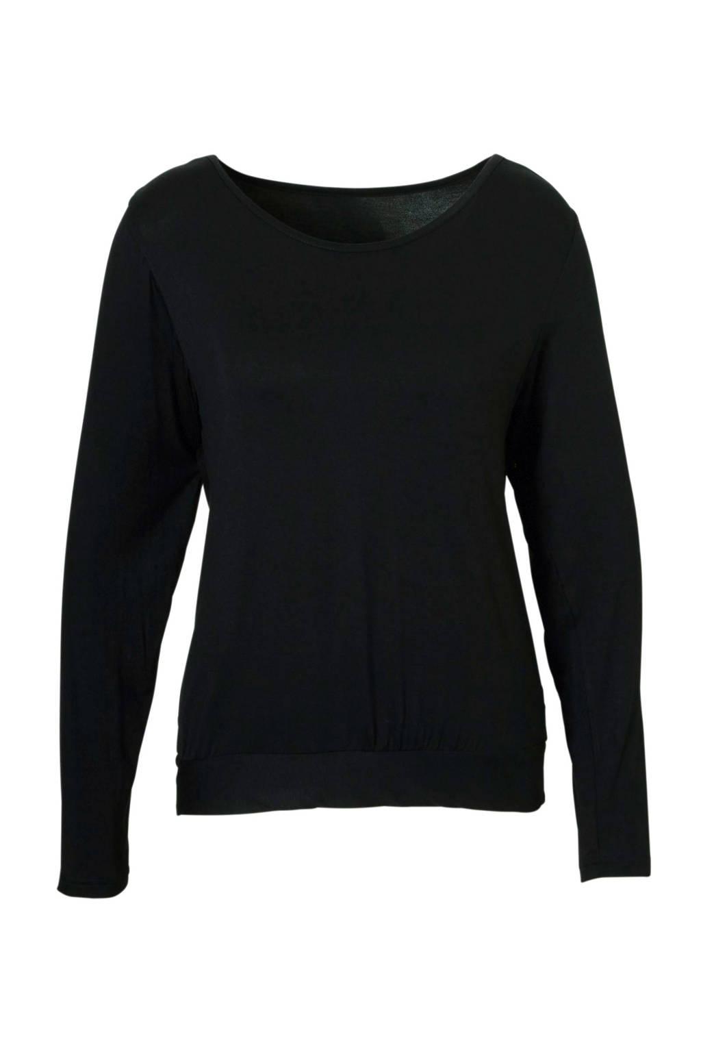 Sassa Mode pyjamatop met ronde hals zwart, Zwart